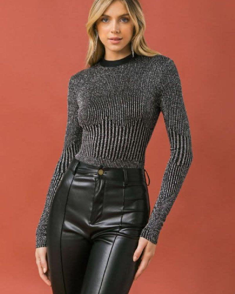 Brynlee Metallic Bodysuit | Silver