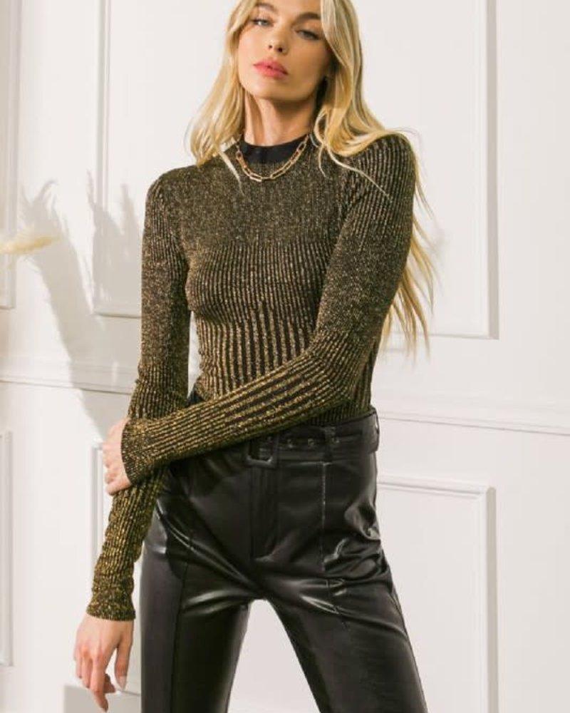 Brynlee Metallic Bodysuit | Gold