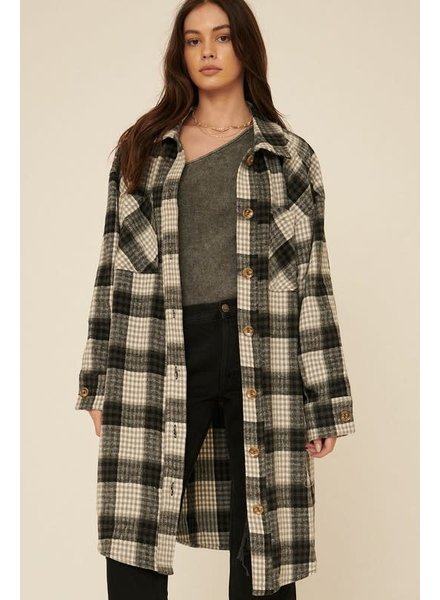 Plaid Button Front Knee Length Coat