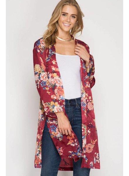 Long Sleeve Floral Satin Kimono