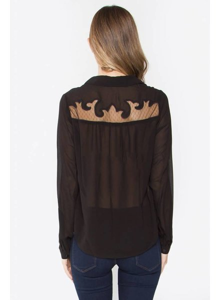 Lace Detailed Chiffon Shirt