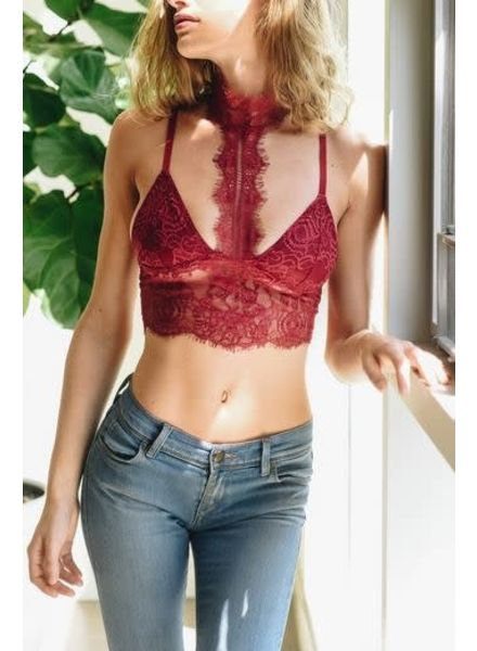 Leto Red High Neck Bralette