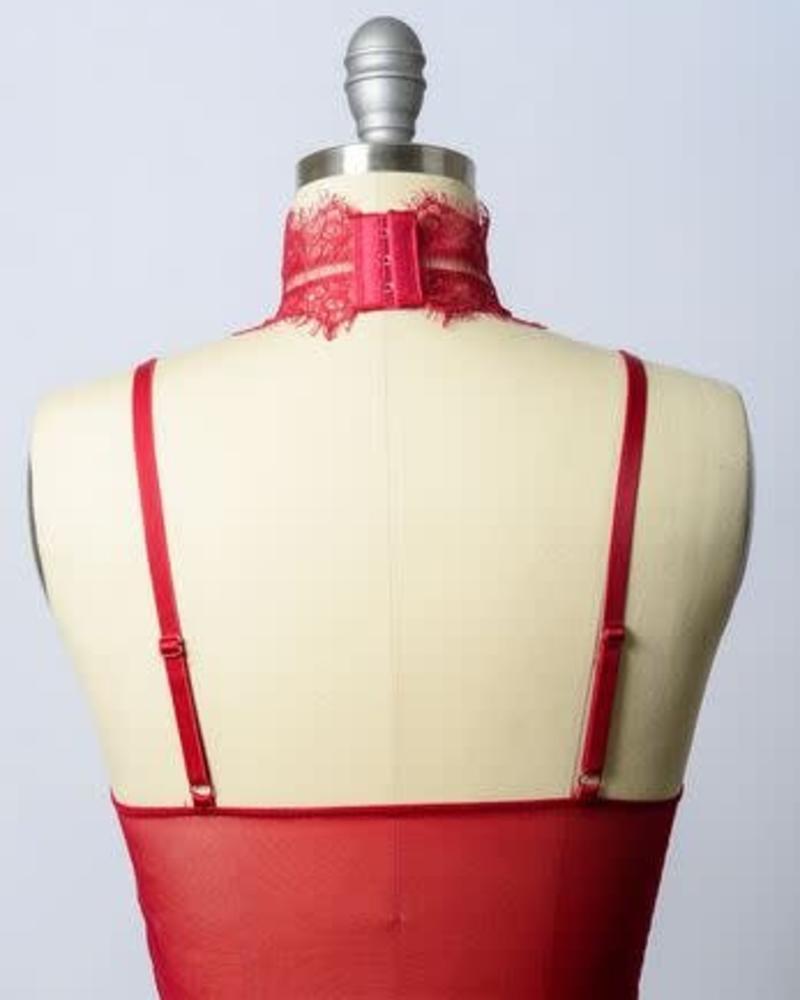 Red High Neck Bralette