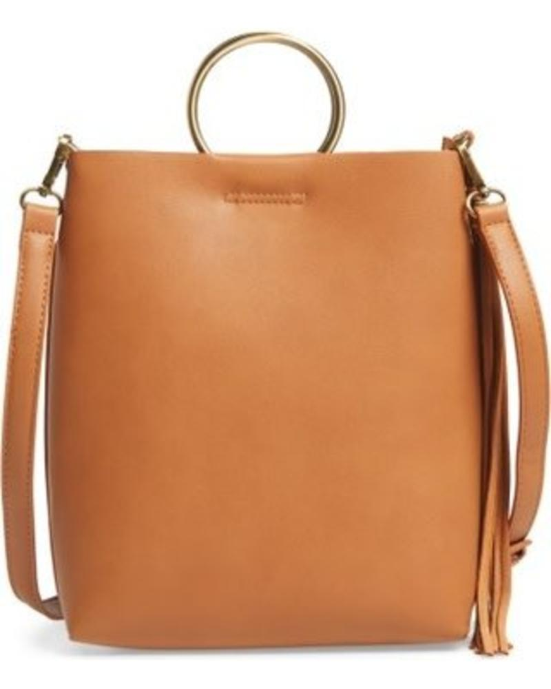 Street Level Tan Shoulder Bag w/ Ring Handle