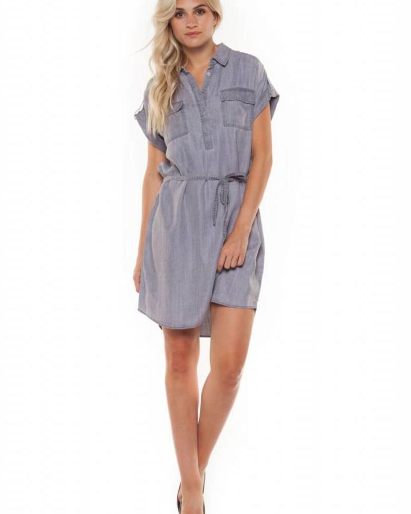 Grey Wash Drawstring Tencel Dress
