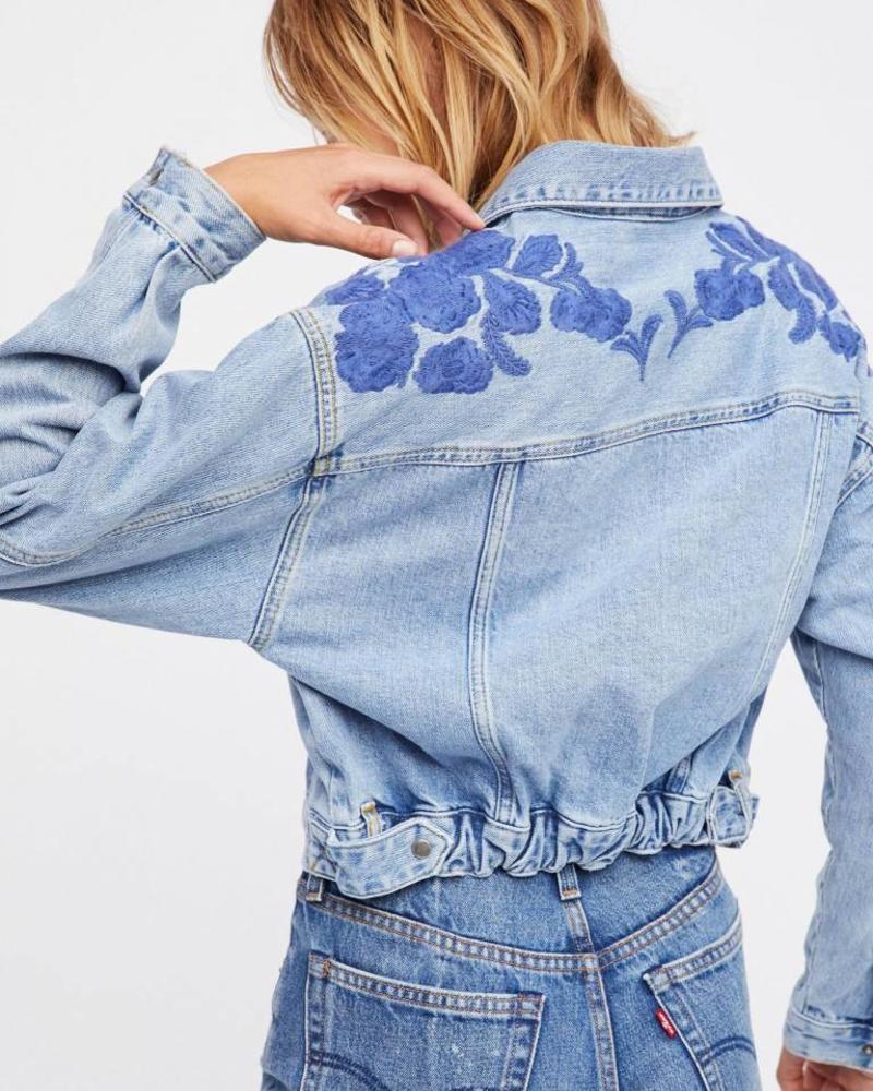 Cinched Back Denim Jacket