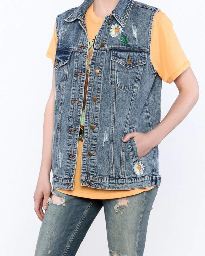 Distressed Vest w/ Floral Embroidery