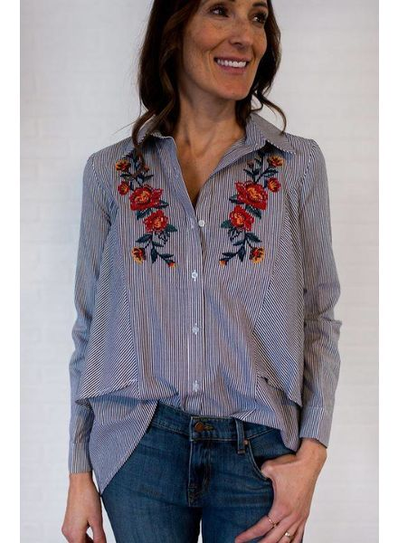 Pinstripe Blouse w/ Floral Embroidery