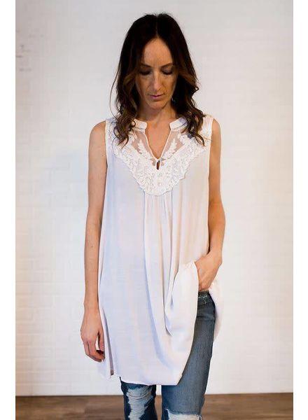 Sleeveless Split Neckline Dress w/ Lace Details