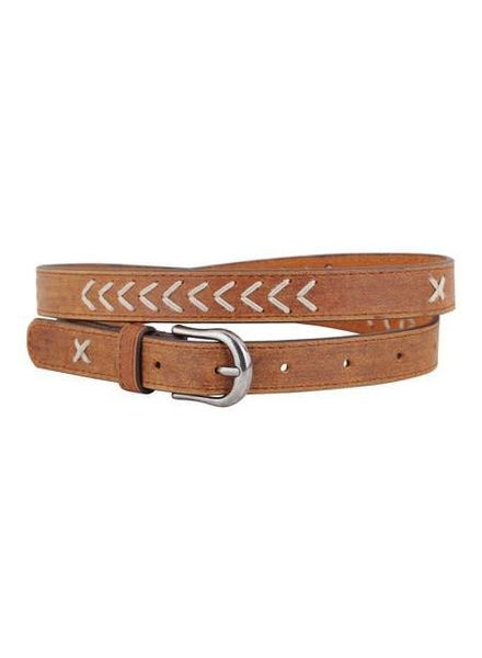 Chevron Stitch Leather Belt | Two Colors
