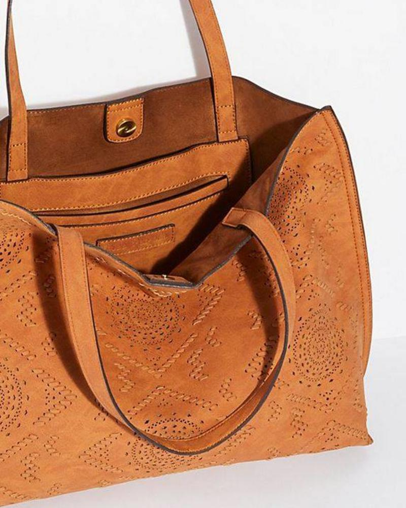 Brown Laser Cut Tote