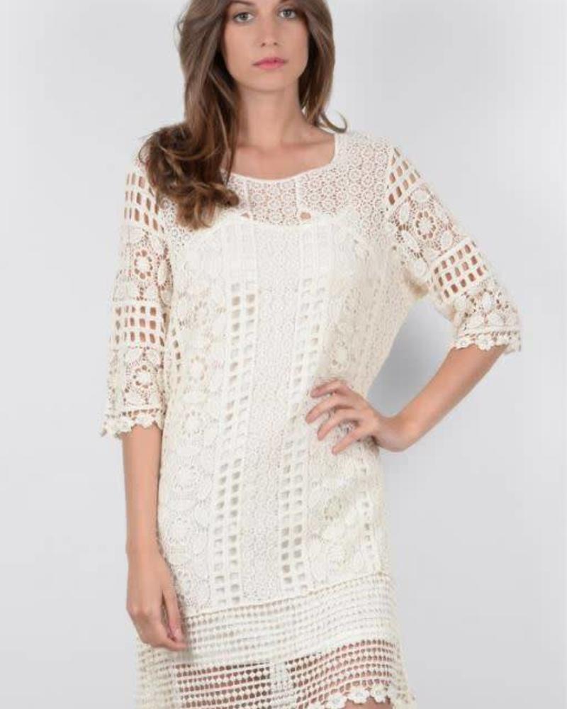 MOLLY BRACKEN Knitted Ivory Dress