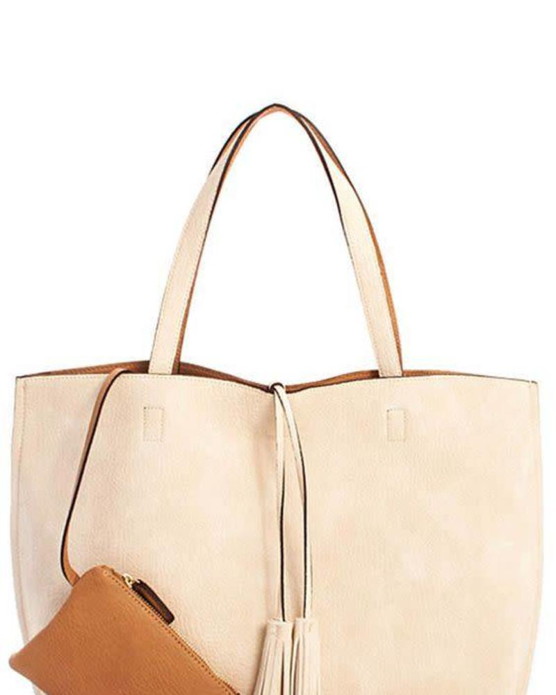 Ivory/Brown Reversible Tote w/ Tassel Detail