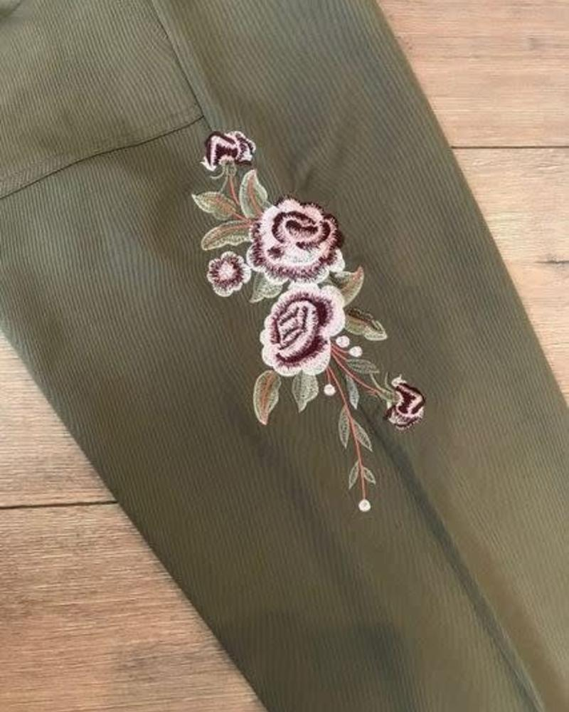 California Moonrise Floral Embroiderd Joggers