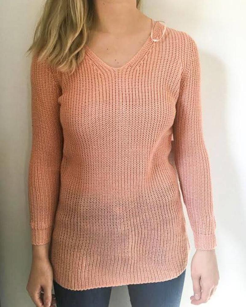 Lace Up Back Tunic Sweater