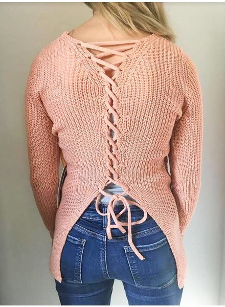 Lace Up Back Tunic Sweater