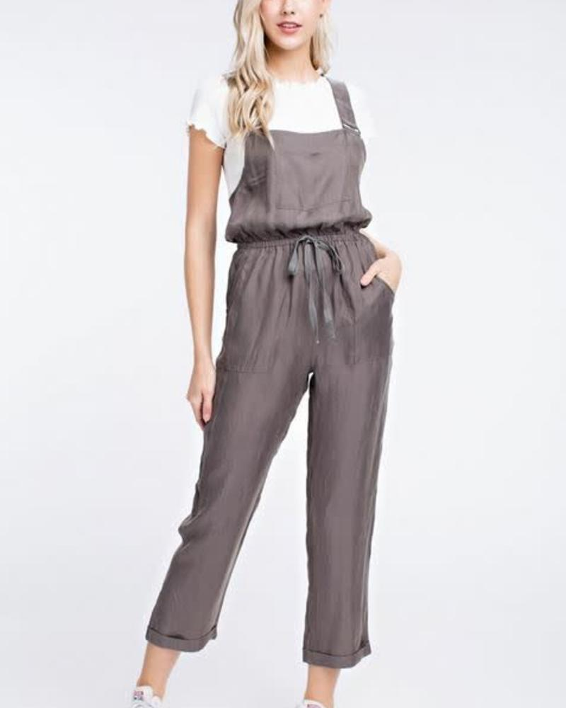 Grey Cropped Overalls
