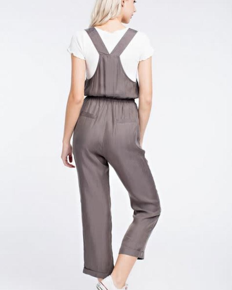 Honey Punch Grey Cropped Overalls