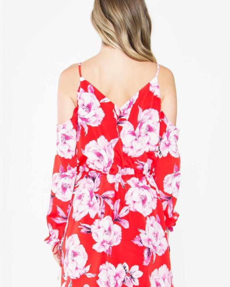 SUGAR + L!PS Linsey Floral Cold Shoulder Dress