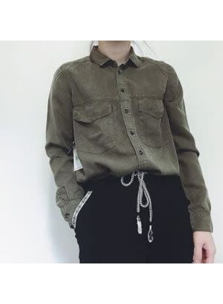 Button Front Khaki Blouse