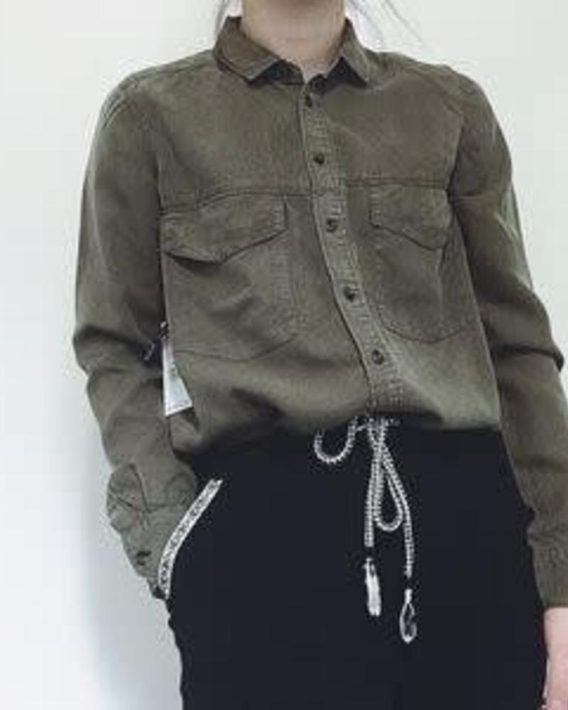 Button Front Khaki Blouse