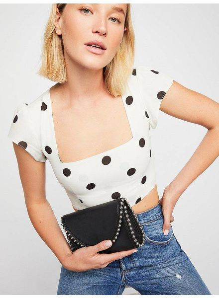 Street Level Black Crossbody w/ Stud Detail