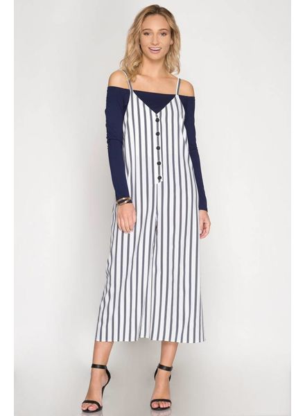 Sleeveless Striped Button Down Jumpsuit