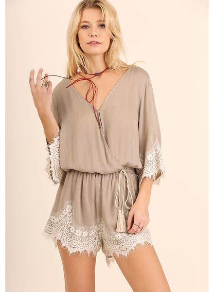 Surplice Lace Romper | Latte