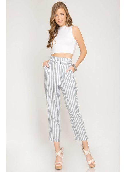 Striped Women Pants w/ Waist Tie