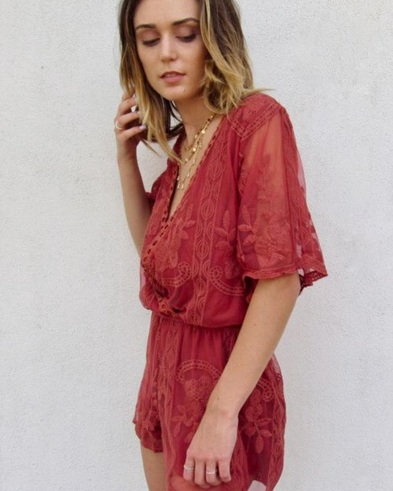 Honey Punch Rust Lace Romper