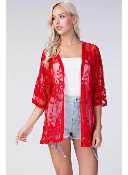 Honey Punch Red Lace Kimono