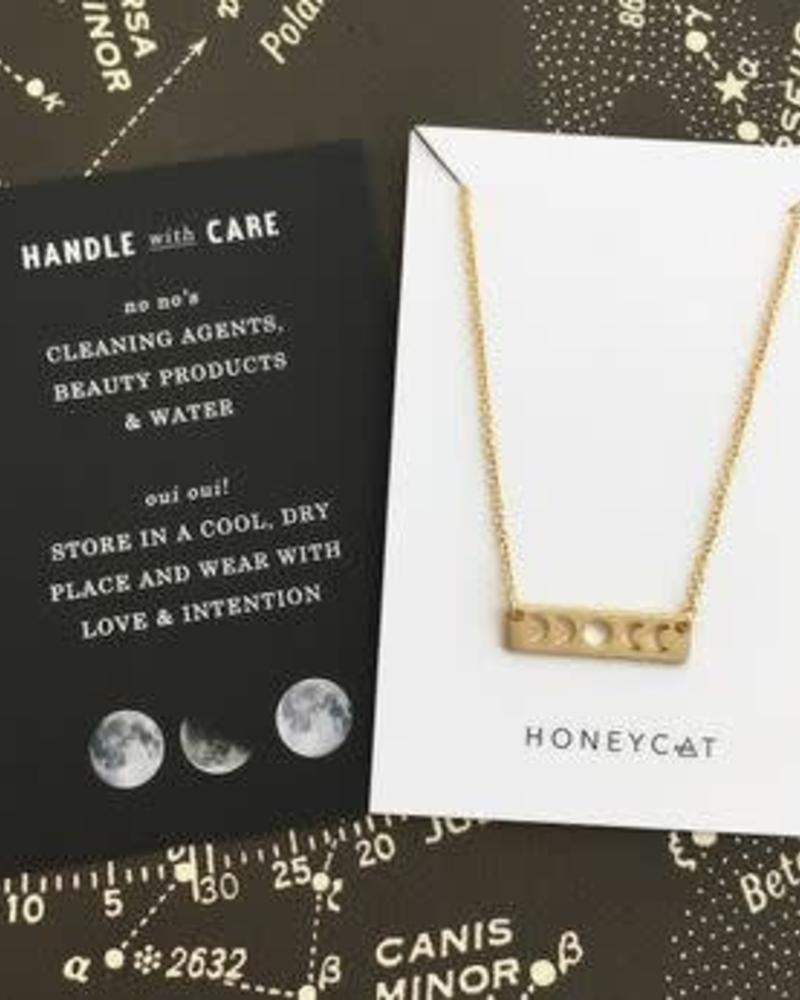 HONEYCAT Mini Moon Necklace / 24 Gold Plate
