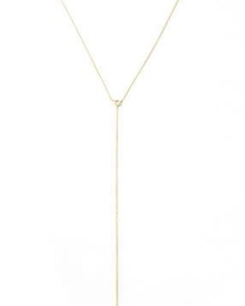 Raindrop Lariat Necklace / 24 Gold Plate