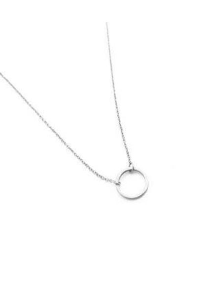 Circle Necklace / Rhodium Plate