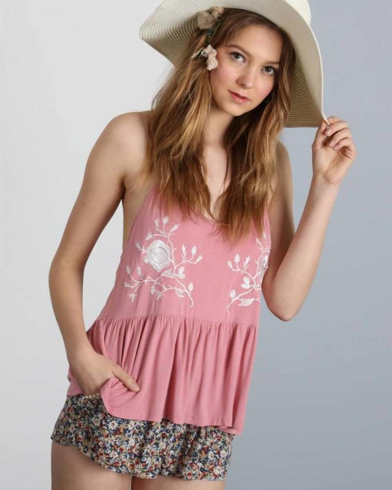 Floral Embroidered Tank w/ Lace Detailing