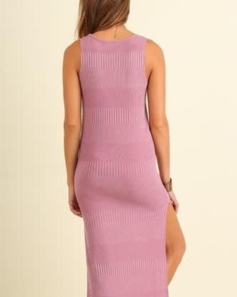 Ribbed Dusty Pink Knit Dress