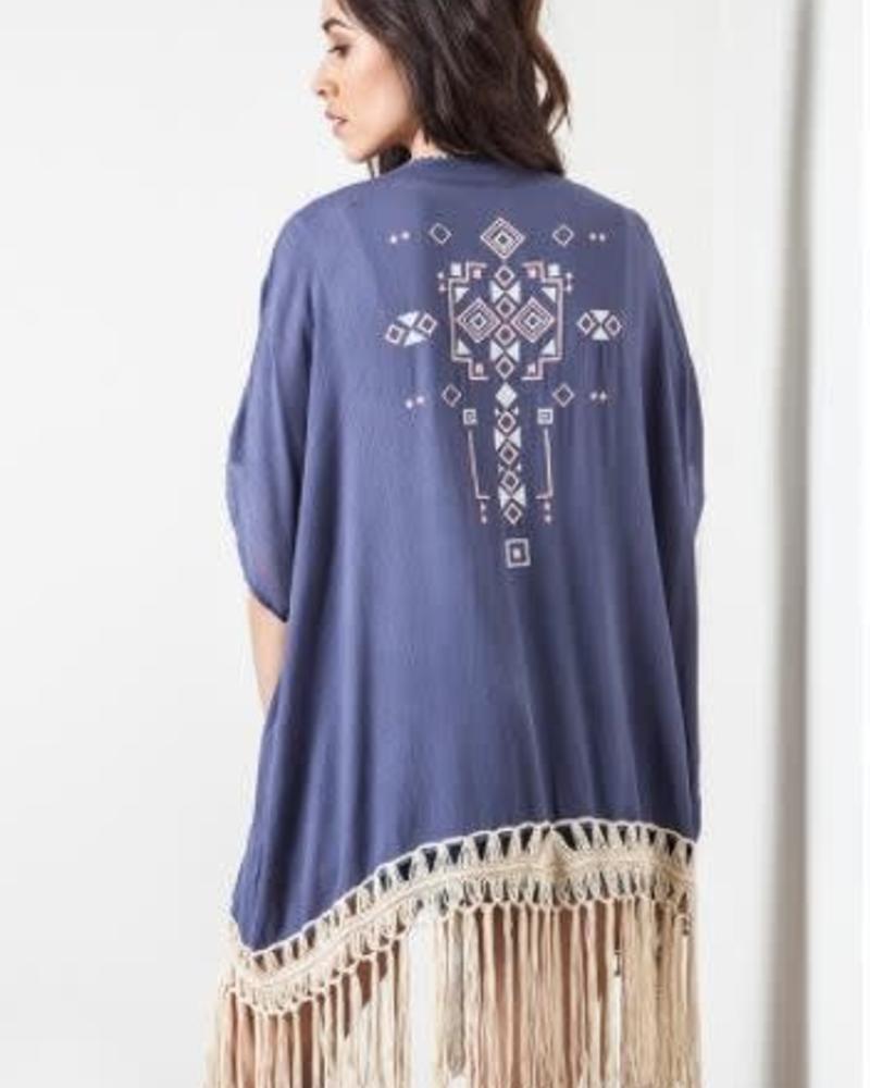 Fringe Kimono / Color: Dolphine