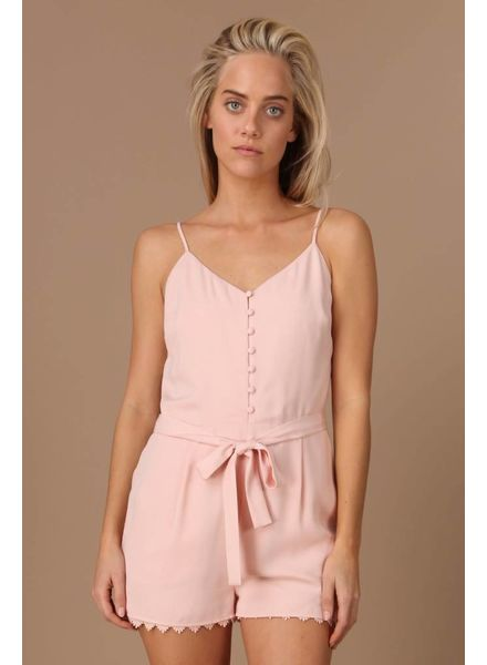 Peach Button Up Romper