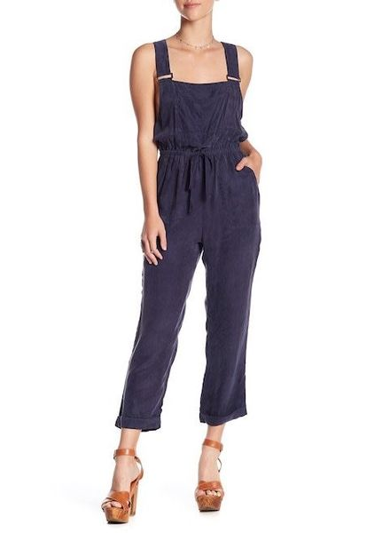 Honey Punch Navy Cropped Overalls