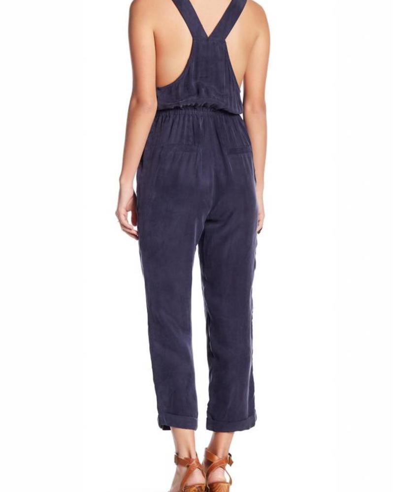 Navy Cropped Overalls