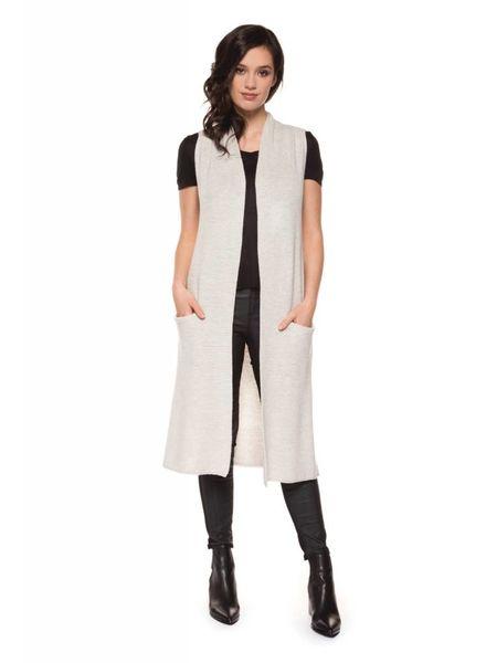 Black Tape/Dex Long Open Sweater Vest