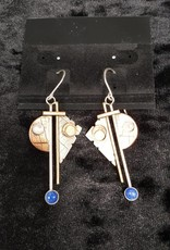 102 Mixed Metal Earring Blue Lapis &Mother of Pearl