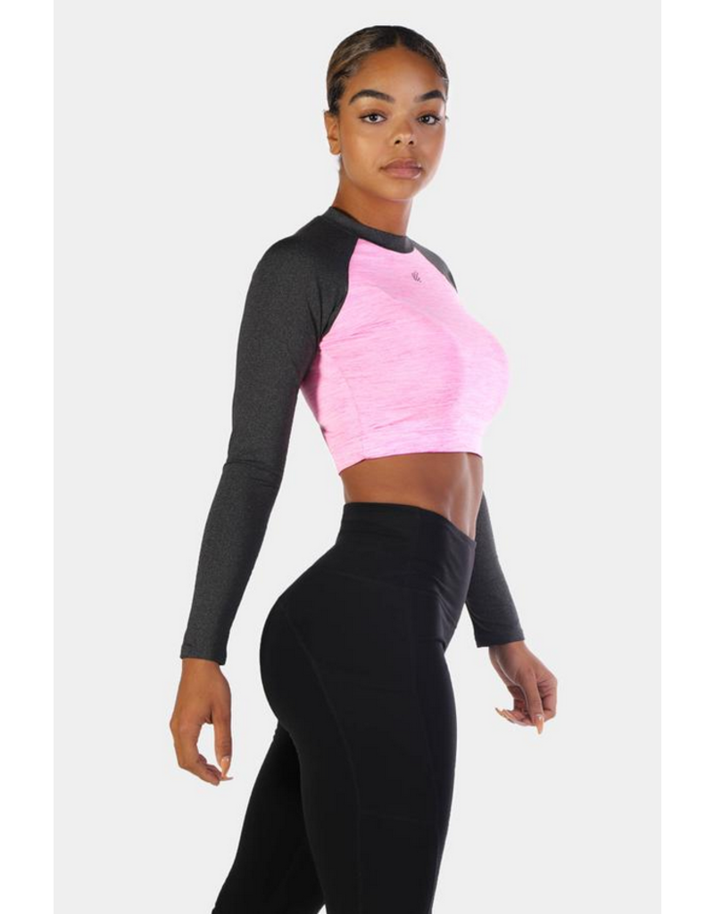 JED NORTH JED RHYTHM FIT LONG SLEEVE CROP TOP - PINK