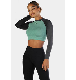 JED NORTH JED RHYTHM FIT LONG SLEEVE CROP TOP - GREEN