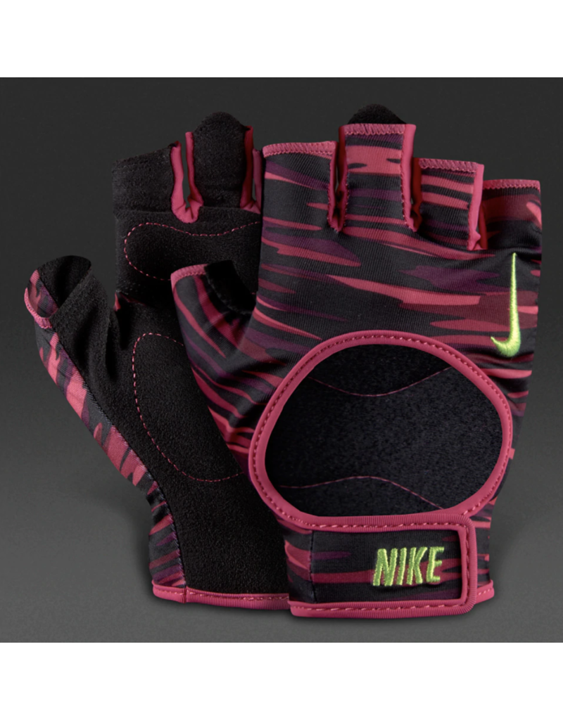NIKE WOMEN'S FIT TRAINING GLOVES BK/PINK PRINT  X-SMALL