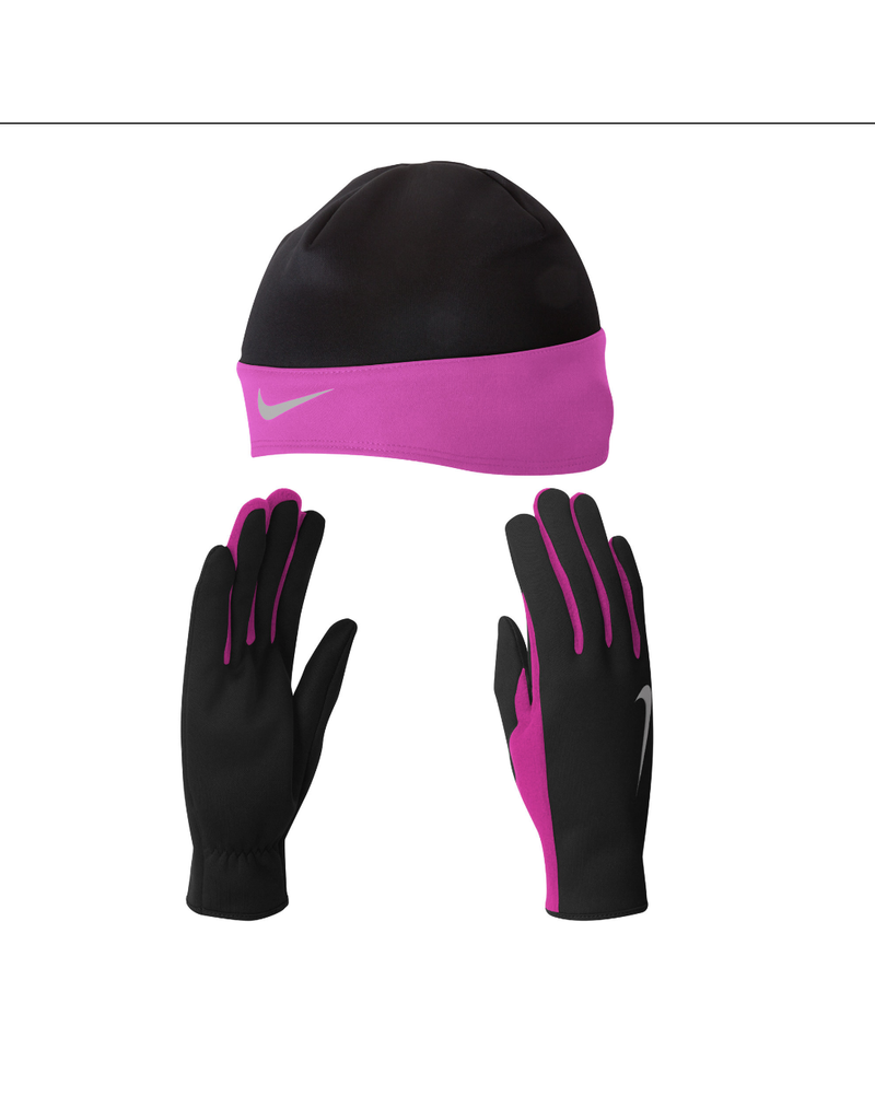 NIKE DRI FIT RUNNING BEANIE AND GLOVES BK/PINK
