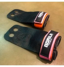 GORILA FITNESS GORILA GRIP ALL BLACK LEATHER PINK/ORANGE VELCRO (PAIR)