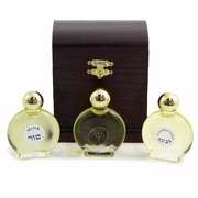 Holy Land Gifts Anointing Oil - Wood Treasure Box w/3 Oils (Rose of Sharon, Frankincense, Myrrh)