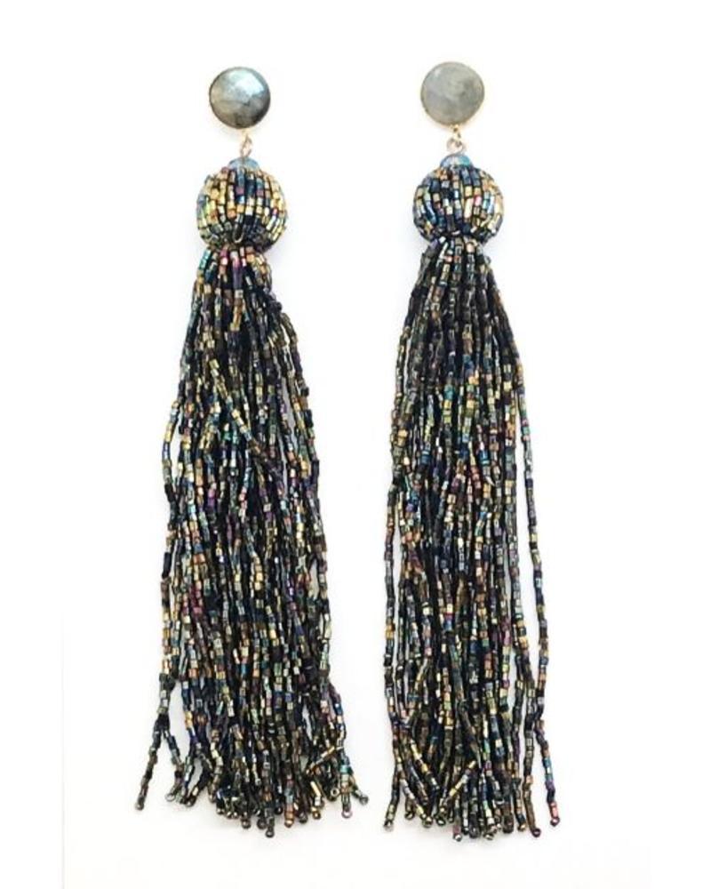 """Allie Beads """"Sparkle"""" Beaded Tassel Earrings ERF115"""