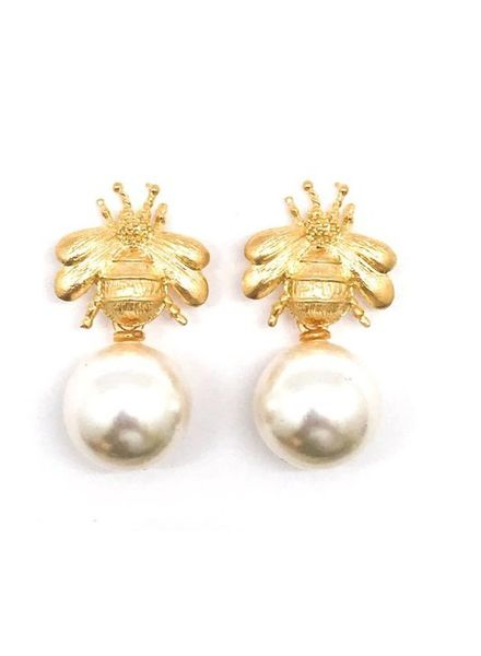 Allie Beads Bumblebee and Pearl Earring ERF155